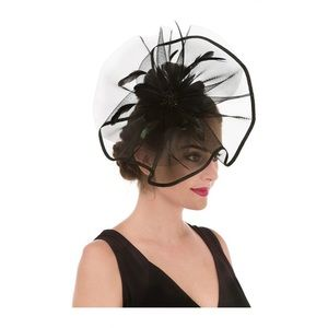 Mesh Black Fascinator with feather & Flower